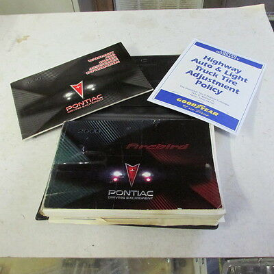 00 Pontiac Firebird Trans Am Formula Owners Manual Tire And Warranty Packet