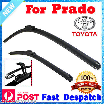 Pair Frameless Wiper Blades For TOYOTA Landcruiser Prado 120 series 2003 - 2009