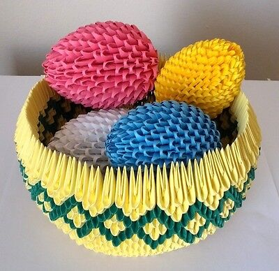 Handmade 3D Origami Easter Basket with Eggs - A Great Gift!