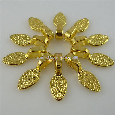 12218 40PCS 21mm Gold Tone Oval Glue on Bails Setting Pendant For Necklace Loop