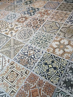 44x44 cm Porcelain Moroccan Style Floor & Wall Patchwork Tiles £20.50 - 5 Tiles!