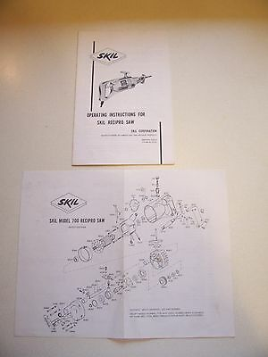 Skil Model 700 Recipro Saw Parts Diagram/Numbers and Skil Instruction Manual