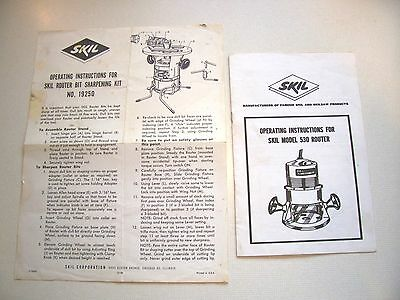 SKIL Operating Instructions for Skil Model 530 Router and Sharpening Kit 19250