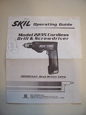 SKIL Model 2235 Coordless Drill and Screwdriver Operating Guide- F354306 6/88