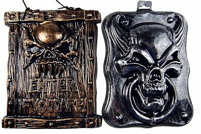 Set Of 2 Halloween Novelty Wall Party Decorations - Door Knocker And Plaque