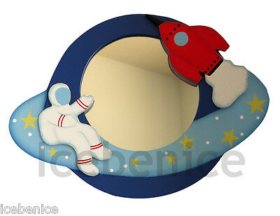 Boys Blast Off Astronaut & Space Rocket Space themed Wall Mirror, hand painted