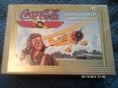 Coca-Cola 1929 Lockheed Air Express Diecast Metal Coin Bank in Original Box-ERTL