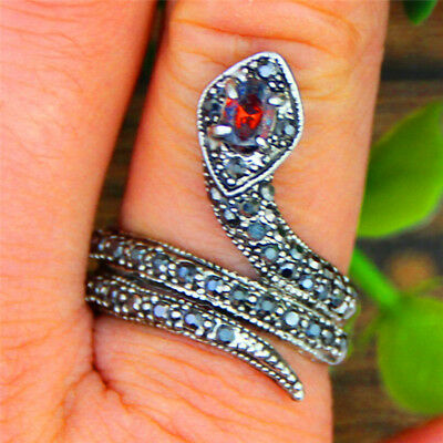 10 pcs Wholesale Lot Snake Rings Antique Silver Plated Crystal Rhineston Jewelry
