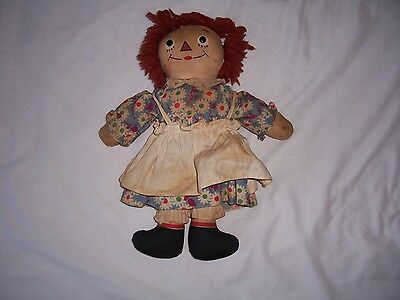Vintage Raggedy Ann Doll Georgene Novelty Co 1940, Awake Asleep, Outlined Nose