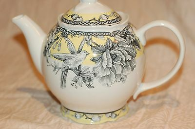 222 Fifth ADELAIDE Yellow French Toile Bird Floral Teapot Coffee Pot NEW