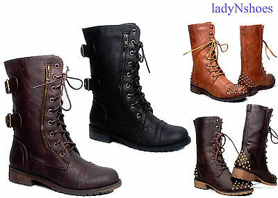 Zipper Buckle Military Combat  Lace Up Mid Calf Boot Women's Shoes Size 5.5 - 11