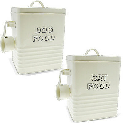 Cat Food Storage Container Dog Retro Vintage Cream Scoop Enamel Lid Tin Home New