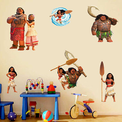 Disney Moana Maui Heihei Wall Stickers Removable Decal Kids Nursery Decor Art