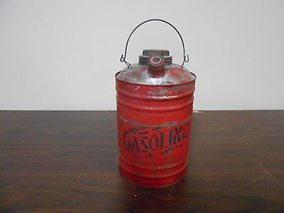 Antique Vintage Small Metal Gas Can With Old Red Paint-Very  Nice Collectible