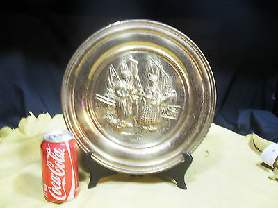 Vintage Elpec Hammered Brass Wall Plate ~ Fisherman ~ Made in Elpec England