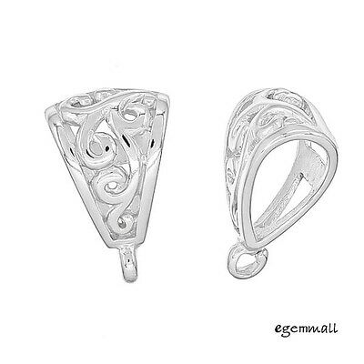1PC Sterling Silver Filligree Slider Pendant Clasp Bail Connector #97925