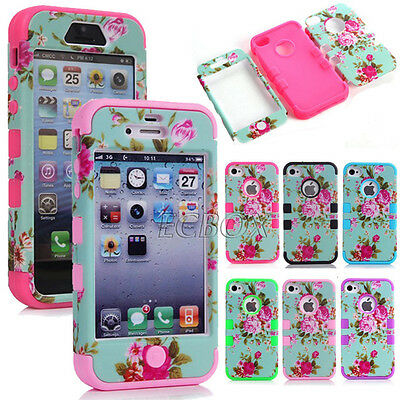 Glossy Peony Flower Skin Soft Hybrid Hard Combo Heavy Duty Case Cover For iPhone