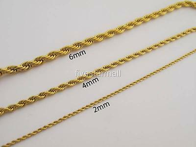 """NEW18""""-30"""" 2mm-6mm Gold Stainless Steel 316L Rope Necklace Chain USA Seller"""