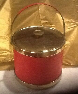 Retro Ice Bucket- Textured Red Sides With Handle