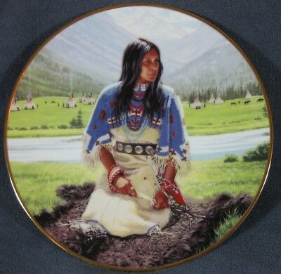 Falling Star David Wright Noble American Indian Women Collector Plate with COA