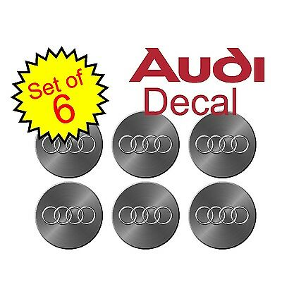 Audi 75mm Simulated metal 6pc Replacement Decal Sticker center cap hub wheel a4