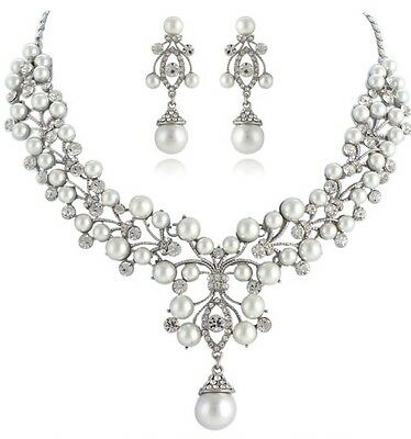Bridal Wedding Necklace Earring Jewellery Set Luxury Party White and Silver