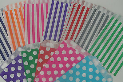 Candy Striped Polka Dot Sweet Candy Wedding Favour Birthday Bags