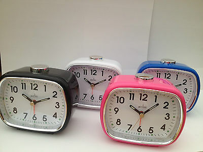 Acctim Elise Bell Alarm Clock With Light And Snooze In  White Black  Pink
