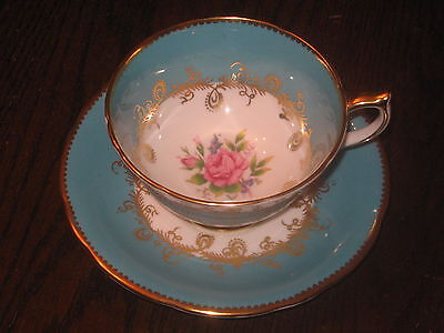 VINTAGE TURQUOISE AYNSLEY CUP & SAUCER W HANDPAINTED  ROSE