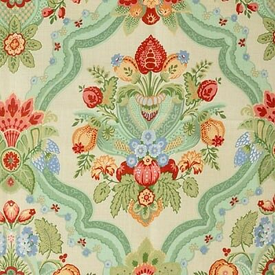 * Lee Jofa 100% Linen Palazzo Floral Turquoise Blue Green Red Pink 6 yds