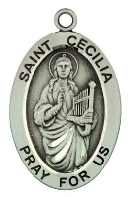 Saint St Cecilia Pray For Us Pendant 1 1/16 Inch Sterling Silver Medal