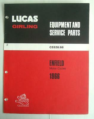 LUCAS ENFIELD Motorcycles Spares List 1966 #CE826/66
