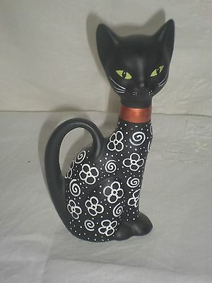 Small Ceramic Siamese Cat Black With White Accents Green Eyes Halloween 6 Inch
