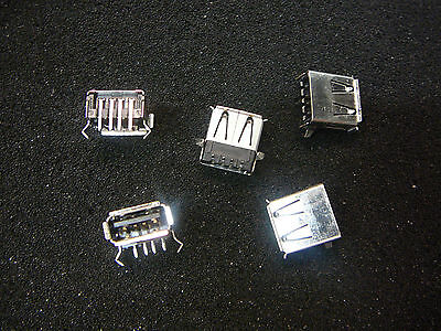5/TYCO USB A Female (Receptacle) Connector PCB Socket Right Angle 4-Pin *NEW*