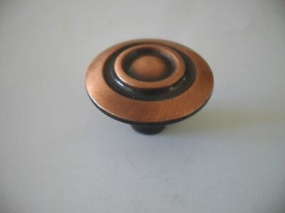 Vintage NOS Antique COPPER KNOBS Round Rings Recessed Center Art Deco Amerock