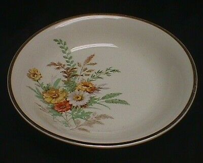 Edwin M. Knowles Round Serving Bowl With Daisies Gold Trim