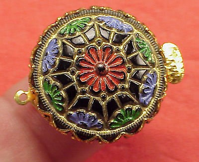 Vintage 25mm Necklace Clasp Connector Black Egyptian Indian Mosaic Gypsy Bead