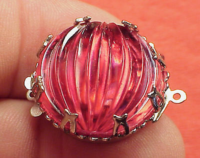 Vintage 23mm Necklace Clasp Connector Cranberry Ribbed Watermelon High Art Deco