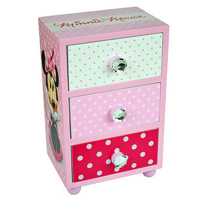 MINNIE MOUSE BEDROOM 3 DRAWER STORAGE KIDS WOODEN BOX PINK. Approx 15cmx10cmx7cm