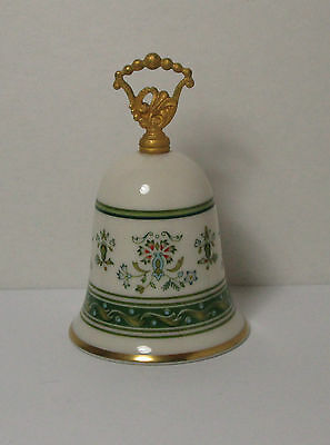 GORHAM FINE CHINA BELL - GREEN AND GOLD