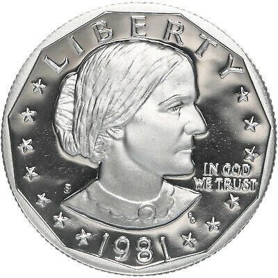 1981 S Susan B. Anthony Dollar Type 1 Gem Deep Cameo Proof CN-Clad US Coin