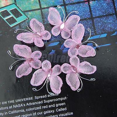 50 Organza Butterfly Pink with Glitter Craft Wedding Party Table Decoration 3cm