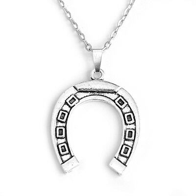 Antique Silver Horse Shoe Pendant Necklace Jewellery with 26Inch Oval Chain