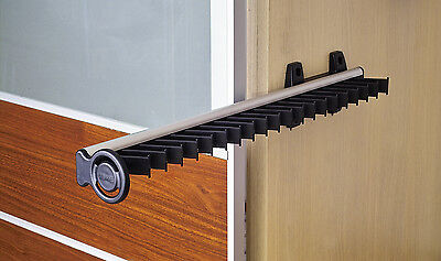 Pull Out Tie Rack Holder Black Wardrobe Slide Out Extendable Side Mounted