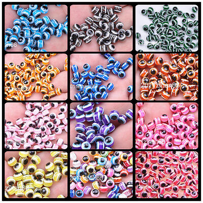 40pcs 100pcs charm Acrylic evil eye round resin spacer beads loose bead 6mm