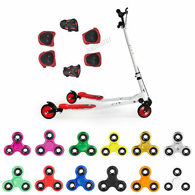 FoxHunter New Kids 3 Wheels Tri Slider Motion Winged Push Scooter Drifter Red