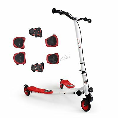 FoxHunter Kids 3 Wheel Mini Tri Slider Motion Winged Push Scooter Red Drifter