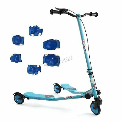 FoxHunter Kids 3 Wheel Mini Tri Slider Motion Winged Push Scooter Blue Drifter