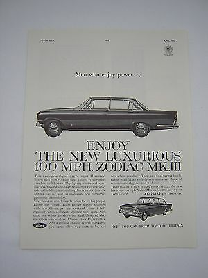 Ford Zodiac MkIII Advert from 1962 - Original Advertisement