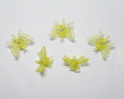 5 Orchids Clips Clamps Buckles Butterfly Yellow